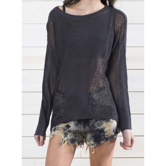 2171a6e45e4 L S Charcoal Mixed Crochet Stitch REHAB Sweater